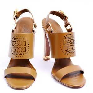 Tory Burch Brown Gabriella Chunky Heel Sandals